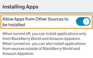 BlackBerry Allows Apps from Other Sources