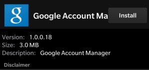 Blackberry Google Account Manager
