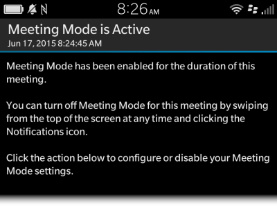 BlackBerry Meeting Mode