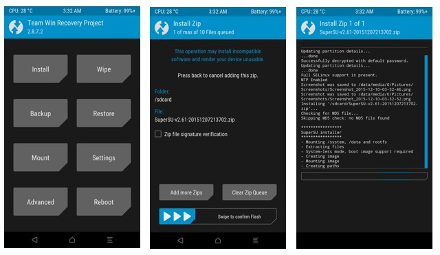 TWRP flash SuperSU