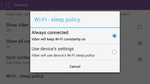 Image result for wifi sleep policy viber